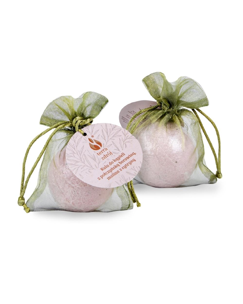 Musująca kula do kąpieli z połczyńską borowiną o zapachu maliny z cytryną